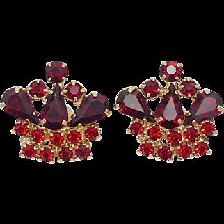 Vintage Ruby Rhinestone Earrings