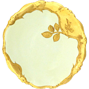 Antique Limoges Plate Heavy Gilt Trim Yellow Background Elite Bawo & Dotter