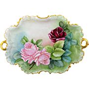 Rosenthal Monbijou  Hand Painted Platter Roses With Gilded Handles & Edges