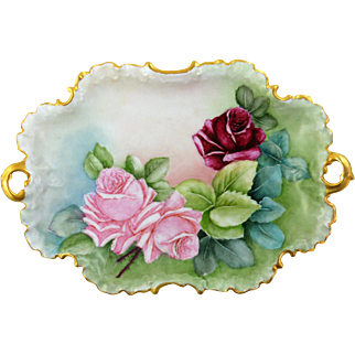 Rosenthal Monbijou  Hand Painted Platter Roses With Gilded Handles & Edges