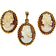 Vintage 10K Cameo Earrings & Pendent Set