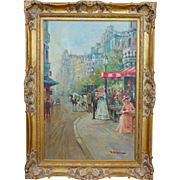 J. Deveau Listed Artist French Impressionist Paris Street Scene Large Oil on Canvas
