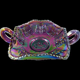 Fenton Carnival Glass Amethyst Bon Bon QVC Museum Collection Piece