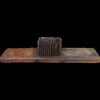 "18th Century Primitive Hetchel Hatchel Carder Flax Comb Tow 26"""