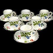 Crown Staffordshire Hampton Pattern  Demitasse Set of 6 Demitasse Cups & Saucers