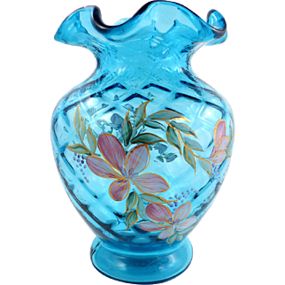 Fenton Diamond Optic Ocean Blue Hand Painted Vase for QVC Artist Signed D. Robinson