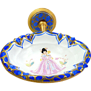 Sherle Wagner Soap Dish Vintage Fixture 22K Gold Plated Cobalt Blue Accents Chinoiserie