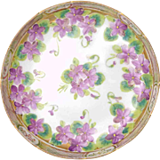 Nippon Bowl Hand Painted Violets Detailed Gold Rim