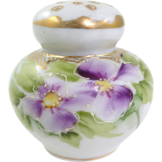 Vintage Shaker Hand Painted Violets With Gold Trim