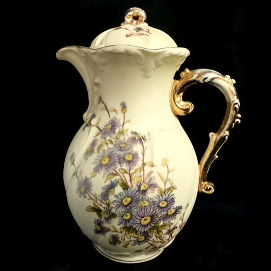 Royal Rudolstadt Antique Hand Painted Gilt Trimmed Chocolate Pot