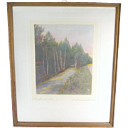 Hand Colored Photograph The Bridal Path Signed J. Robinson Neville - Wallace Nutting Era Photograph