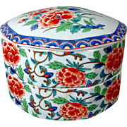 Japanese Jubako  Imari Lotus Blossom Porcelain Stacking Box Vintage Takahashi