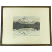 Hand Colored Photograph Mirror Image Reflection of Mt. Hood Framed Wallace Nutting Era