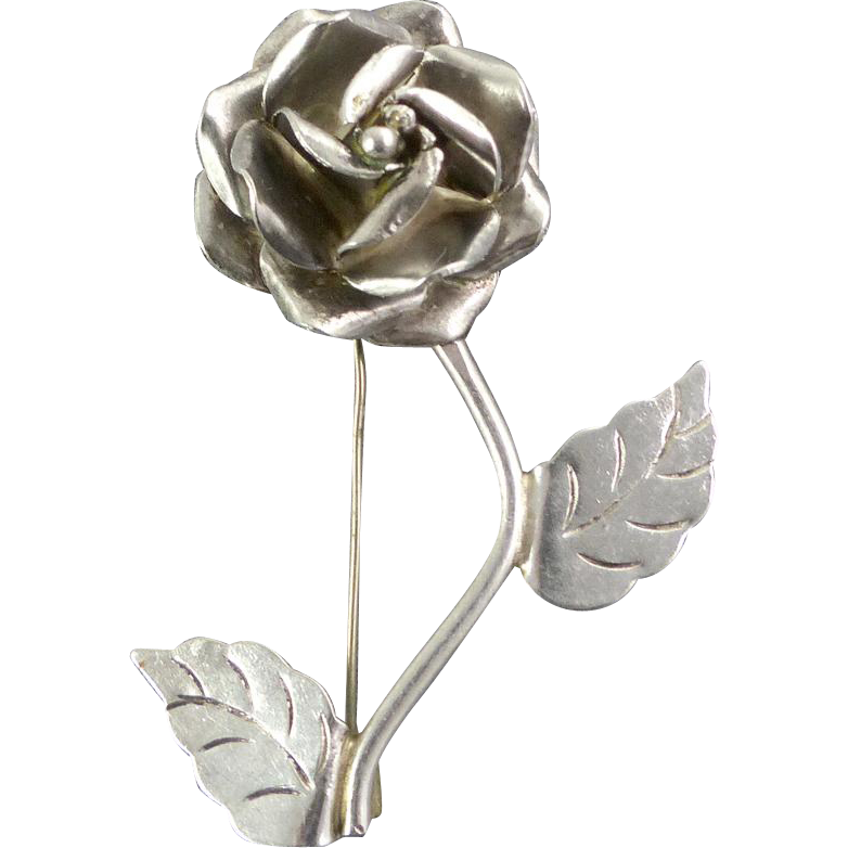 Vintage Taxco Sterling Silver Rose Flower Pin