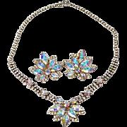 Vintage Rhinestone Necklace & Earring Set Aurora Borealis