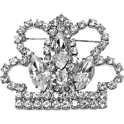 Vintage Rhinestone Crown Pin Large Crown Unsigned