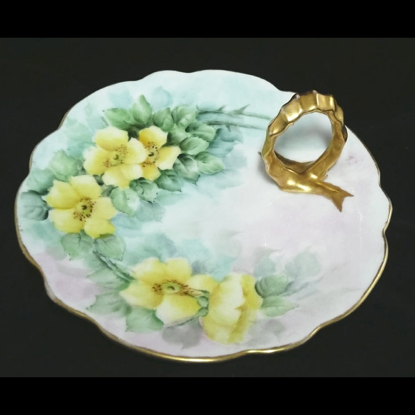 Antique Yellow Rose Hand Painted Porcelain Plate Gilded Handle