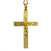 """Vintage 10K Gold Cross With 18"""" Chain Beautiful Bright Cut Designs  Marked ESEMCO"""
