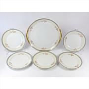 Vintage Noritake Snack Set Platter & 5 Plates The Marne Pattern