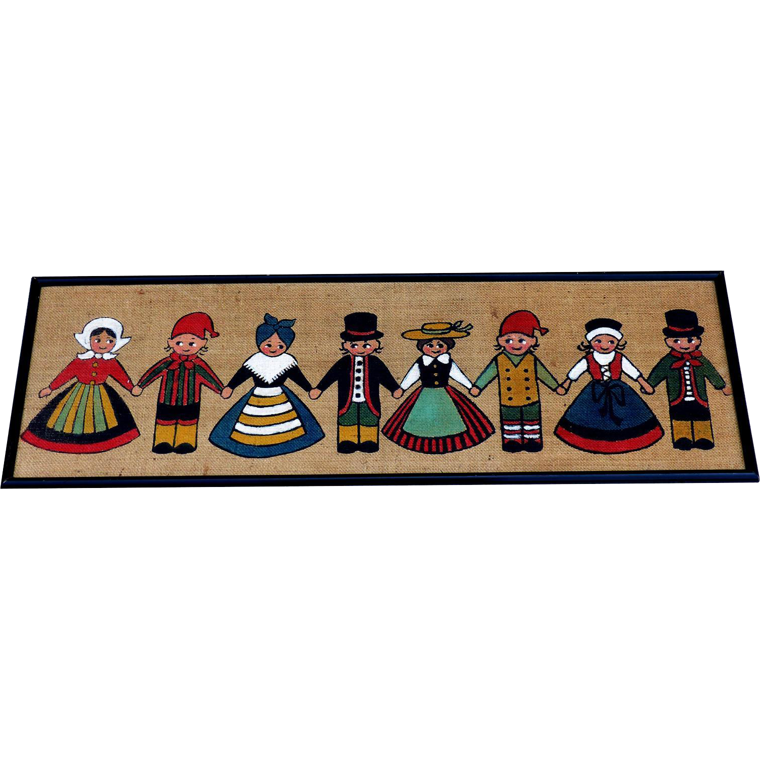 Vintage Folk Art Painting German Costumed Children Painted On Canvas
