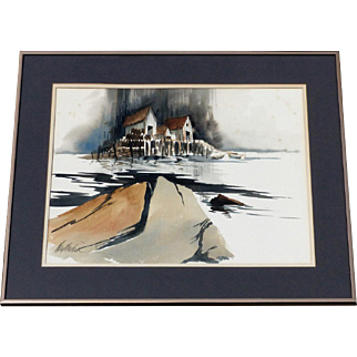 """Original Framed Watercolor Painting by Listed Artist Kate Kandra  """"Big 3"""""""