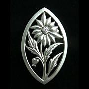 Vintage Sterling Silver Sunflower Pin Vintage Silver  Brooch