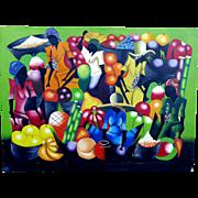 "Original Haitian Painting  Artist Signed Haitian Market Scene  40"" by 30"""