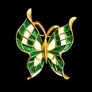 Vintage Trifari Enamel Butterfly Pin Crown Trifari Mark