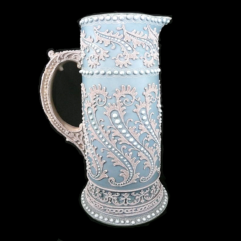 Large Antique Nippon  Moriage Tankard Pitcher  French  Blue