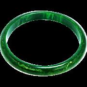 Vintage Bakelite Bracelet  Marble Green With Yellow Bakelite Bangle