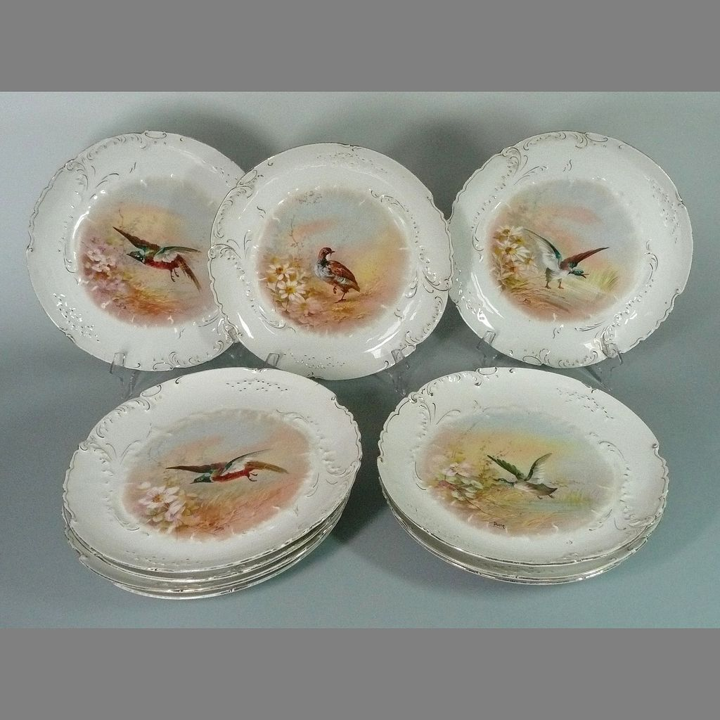 Antique Limoges Game Bird Plates Hand Painted Signed Rare Mark