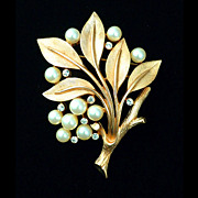 Vintage Trifari Pin Crown Trifari Brooch Branches of  Pearls  & Rhinestones