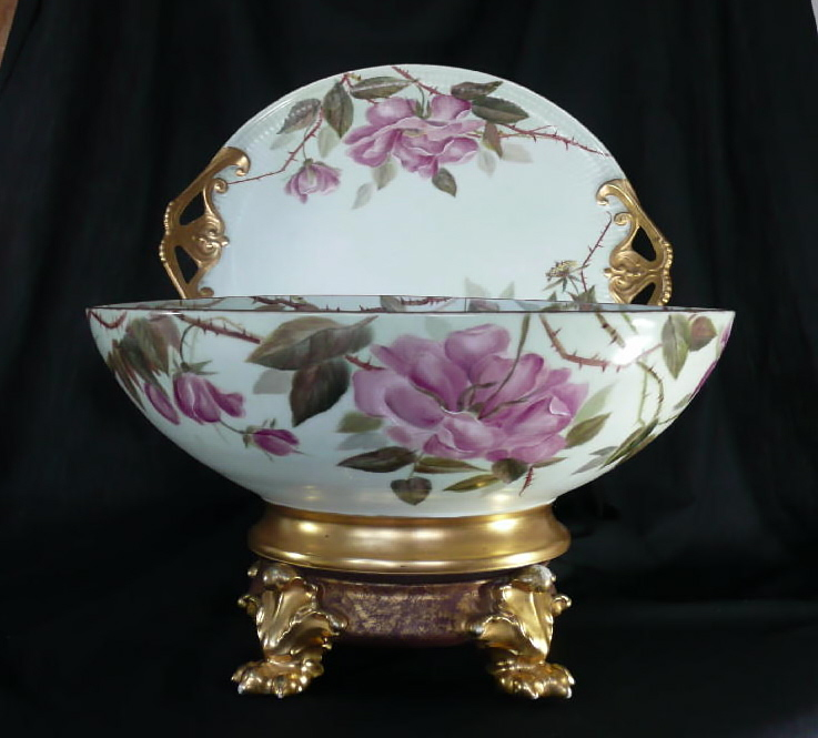 Antique Limoges Punch Bowl Set Hand Painted Bowl, Platter & Base