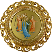 Antique Fra Angelico Hand Colored & Gilded Trumpeting Angels In 19th c Gilded Frame