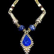 Vintage Lapis Necklace Blue Lapis Lazuli Silver Necklace