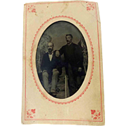 Tintype Photograph 2 Men 6th Plate Original Paper Envelope Sleeve