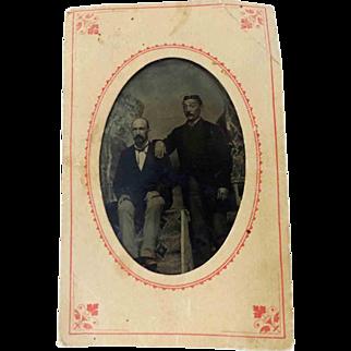 Tintype Photograph 2 Men 6th Plate Original Paper Envelope Sleeve