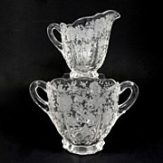 Vintage Cambridge Glass  Etched Sugar & Creamer Wildflower Pattern