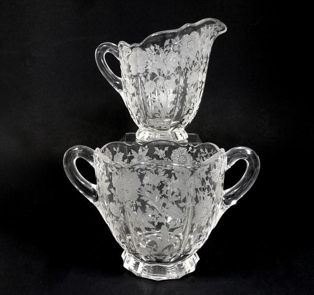 vintage cambridge glass etched sugar creamer wildflower. Black Bedroom Furniture Sets. Home Design Ideas