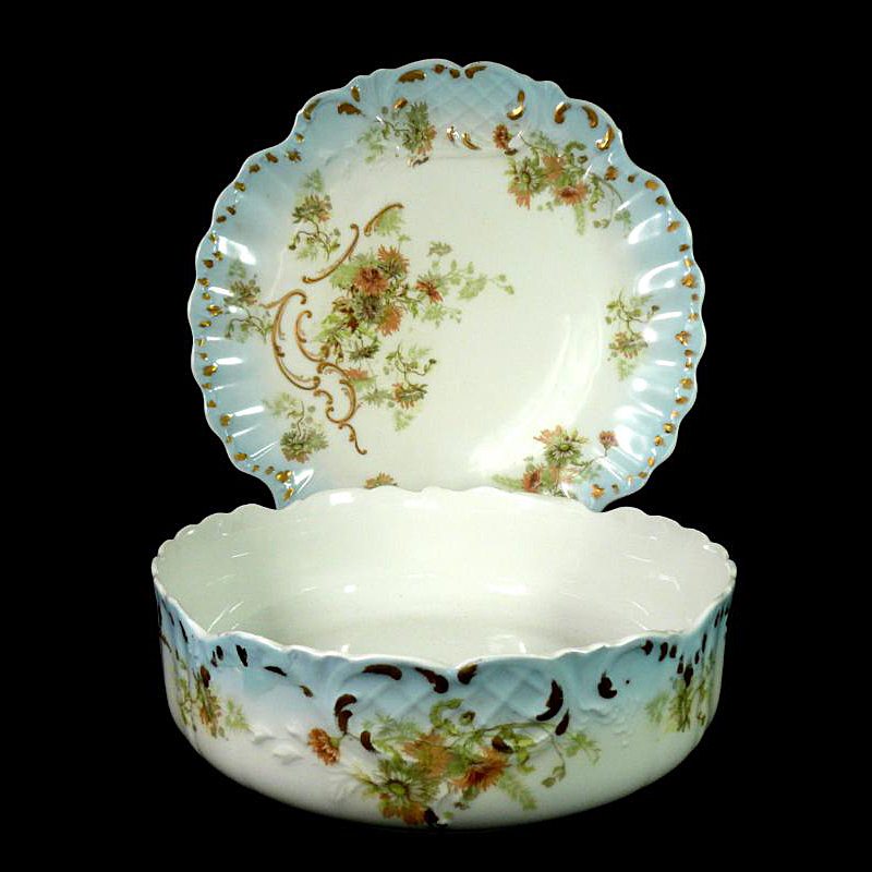 Limoges Center Bowl  & Matching Platter By Redon & Decorated by Elite Works