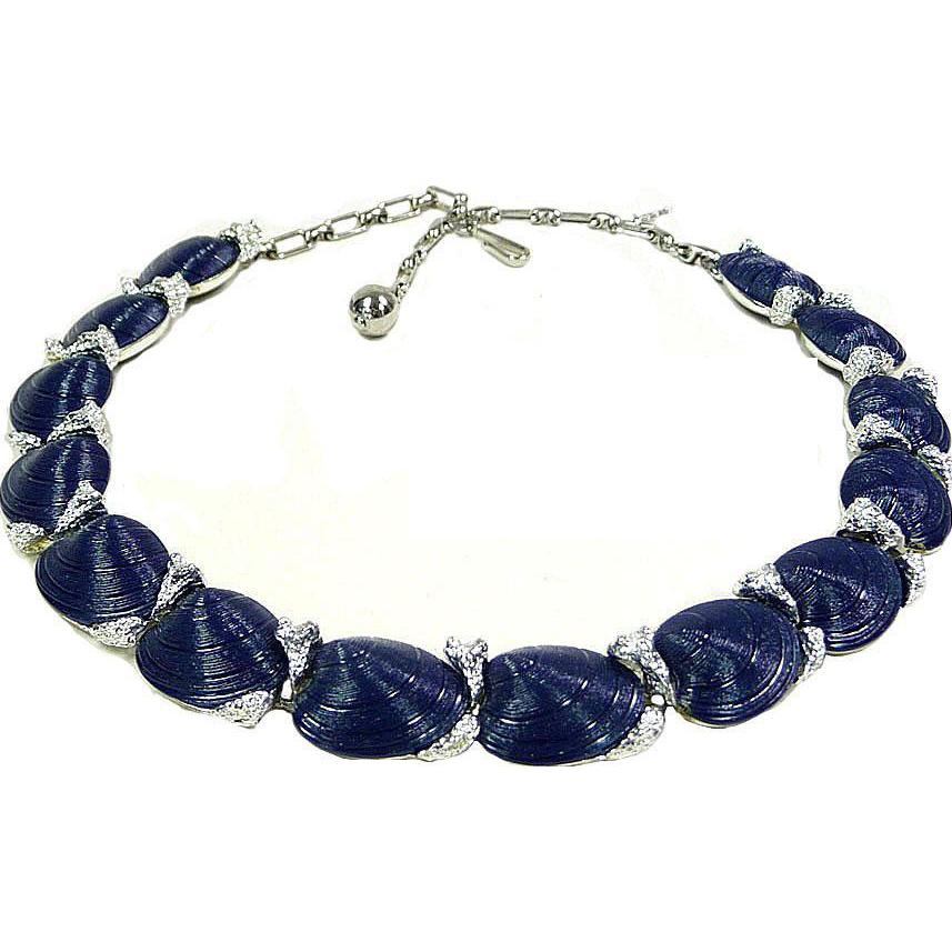 vintage trifari necklace crown trifari navy blue silver