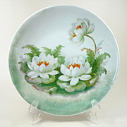 German Decorative Plate Artist Signed Genicond Water Lilies