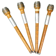 Primitive Wood Spools  4 Antique Wood Thread Holders - Red Tag Sale Item