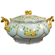 Limoges Covered Bowl Sugar Bowl Sauce Bowl Floral Design Gilt Handles