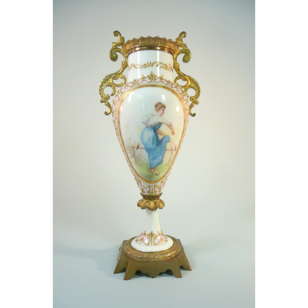 Antique Porcelain Hand Painted Bolted Vase With Ormolu