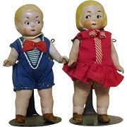 """Tiny 3 1/2"""" Bisque Google Eyed Twins"""