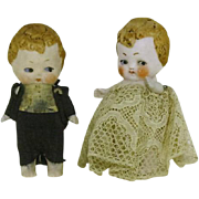 All Bisque 3 1/2 inch Bride and Groom  Germany mark