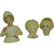 3  All Bisque-- Half Doll--Head--Flat Head Ornament