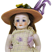 """4 1/2"""" Glass Eyed All bisque Jointed Doll Germany"""