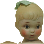 "All Bisque 7 1/2""  Little Girl with Bow in Hair Made in Japan"